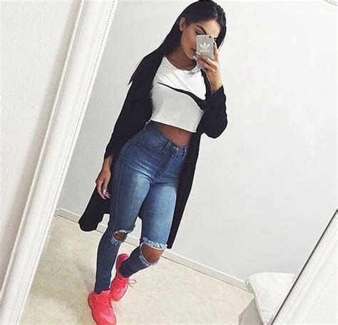 Full outfit white nike crop top high waist skinny jeans maxi sweater pink nike shoes ufe0f ...