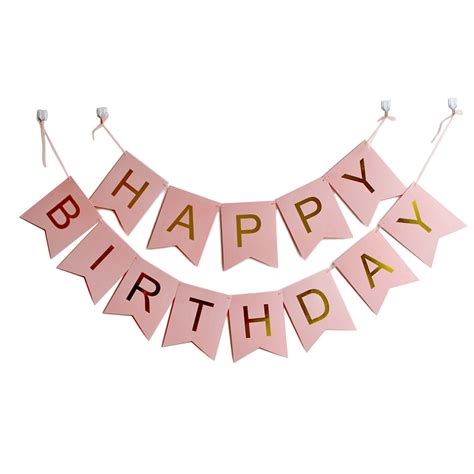 Class Family Home With Blue Pink And Gold Decor by 100pack Happy Birthday Banner With Gold Letters