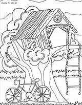 Coloring Pages Summer Treehouse Tree Sheets Doodle Colouring Printable Trees Alley Fun Treehouses Adults Sheet Hut Camping Adult Houses Magic sketch template