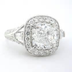 cushion cut antique engagement rings cushion cut engagement ring antique 2 06ctw 18k knrinc jewelry on artfire