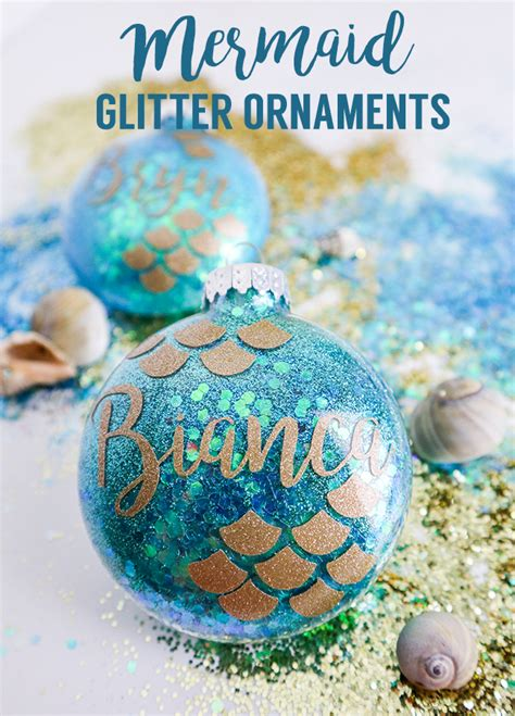mermaid glitter ornaments     christmas