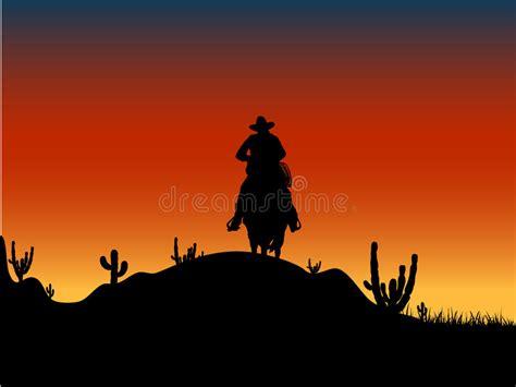 cowboy silhouette  sunset stock vector illustration