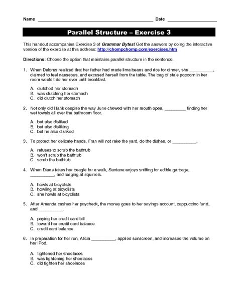 parallel structure exercise 3 worksheet for 4th 12th