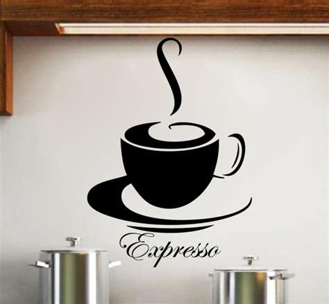 cuisine chocolat et vert anis sticker tasse de café expresso deco cuisine destock
