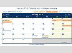 Print Friendly January 2018 Australia Calendar for printing