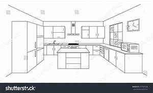 How To Draw One Point Perspective Kitchen With Furniture ...