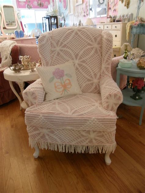 slipcovered chairs shabby chic shabby chic wingback chair slipcovered with a vintage chenille bedspread eclectic living