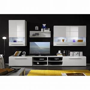 Day living room furniture set in white high gloss with led for White gloss furniture for living room