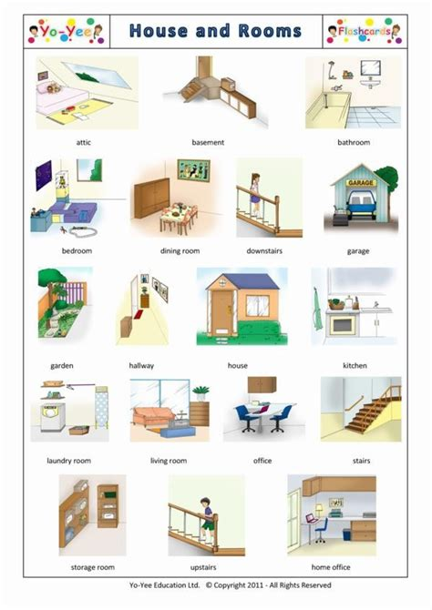 rooms  house flashcards  kids