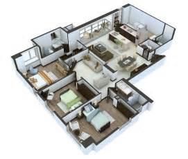 3 bedroom cabin plans 25 more 3 bedroom 3d floor plans architecture design