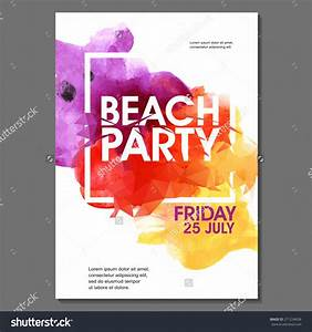Summer Night Party Vector Flyer Template - Eps10 Design ...
