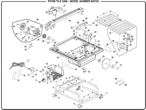 ryobi 7 tile saw assembly ryobi ws722 tile saw parts and accessories partswarehouse