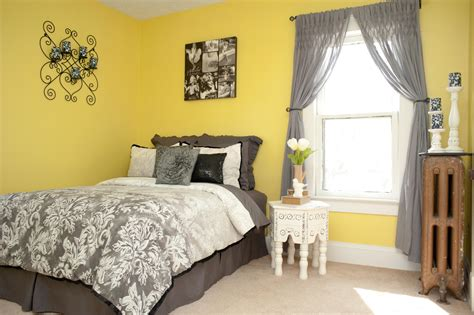 Bedroom Bedrooms Gray Yellow Curtains For Lemon