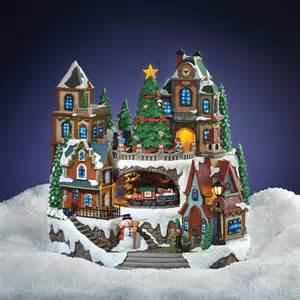 animated village scene with moving train music led lights christmas fibre optic ebay