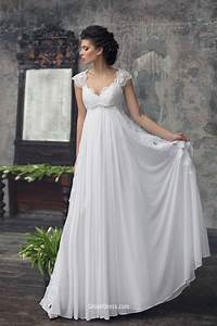 Elegant empire cap sleeves chiffon lace summer wedding for Lace chiffon wedding dress
