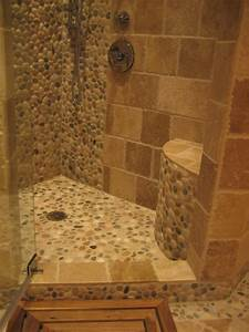 Island Stone pebble bathroom design - Rustic - Wall And