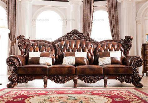Sofa Set Design Pictures by 2018 Design Luxury Wooden Carving Frame Leather