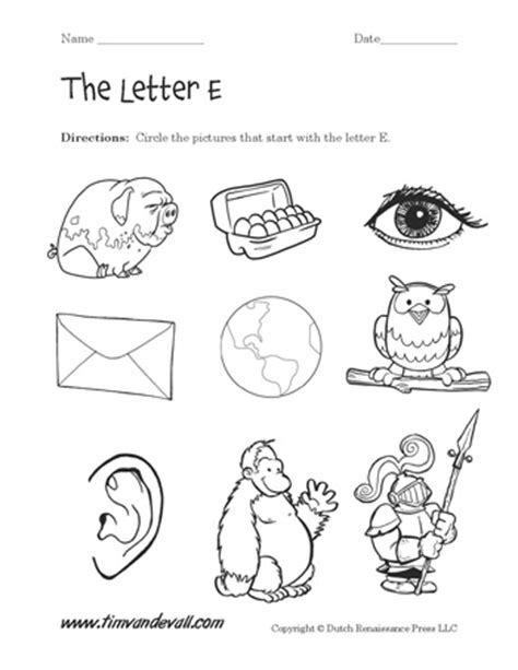 words that start with the letter e letter e worksheets preschool alphabet printables 31063