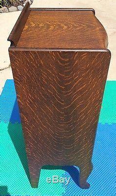 Antique Herzog Tiger Oak 150  Record Storage Cabinet
