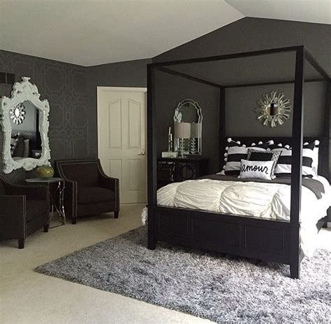 Decorating Ideas For Black Bedroom Furniture by Like The Chairs And Mirror Idea Against Wall Master
