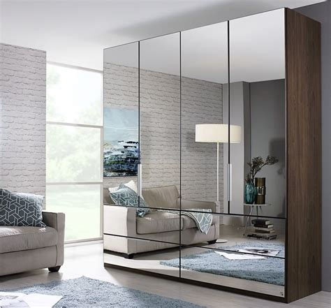 Mirrored Wardrobe by Rauch Zenaya 5 Mirror Door Wardrobe In Royal Walnut W