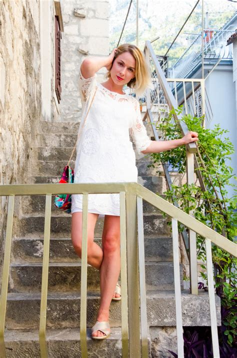outfit post summer vibes white lace dress mode lily