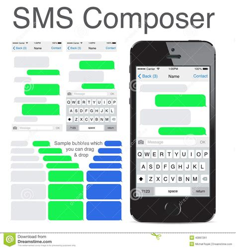 iphone 5s messages iphone 5s chatting sms template bubbles editorial photo