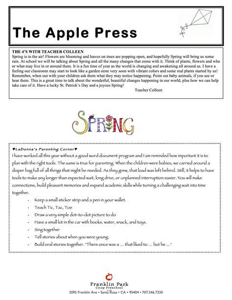 franklin park preschool march newsletter 2018 p2 franklin park co op preschool 774