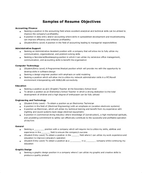 Administrative Assistant Resume Objective by 6 Resume Objective Sles Sle Templates