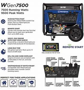 Westinghouse 7500-watt Gasoline Powered And Portable Generator With Electric Start