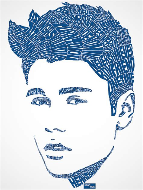 typography face portraits of worlds famous pop star inspire by their own lyrics