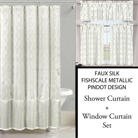 ivory white shower curtain   pc window curtain set