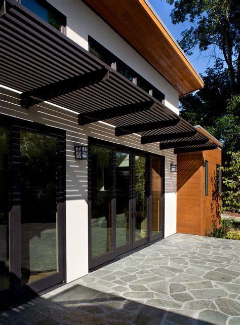 aluminum pergola exterior modern  black trim cedar wood clean doors patio garage pergola