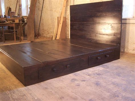 Reclaimed Modern Style Platform Bed With Headboard And 2