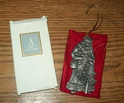 New 1993 Avon Santa Claus Pewter Christmas Ornament Red