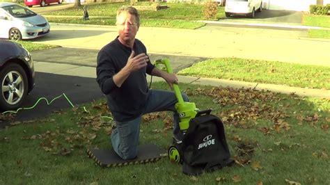 leaf blower leaf vacuum sun joe youtube