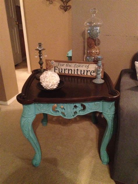 van teal table ls end table i refinished in a teal with a kona stained top