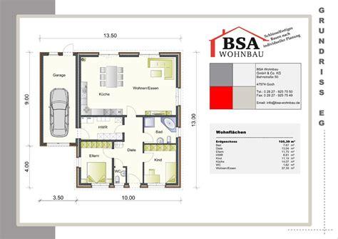 Pultdach Bungalow Grundrisse by Pultdach Bungalow Ambiente 105 Schl 252 Sselfertig Bauen Bsa