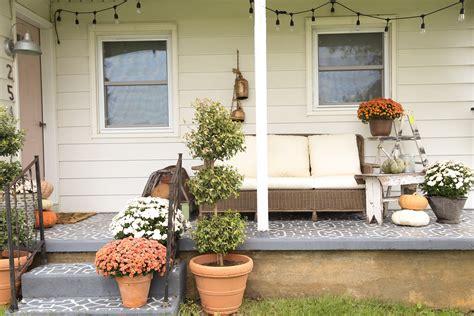 cozy farmhouse front porch fall front porch decor