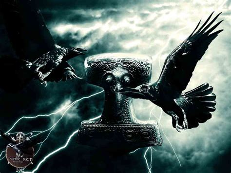 ravens with mjolnir by thecasperart on deviantart