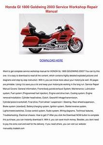 Honda Gl 1800 Goldwing 2003 Service Workshop By Onanealy
