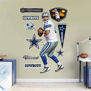 Life size tony romo home wall decal shop fatheadr for for Dallas cowboys wall decals for kids rooms