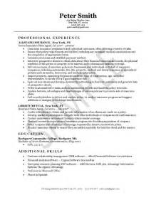 resume description for insurance insurance resume exle