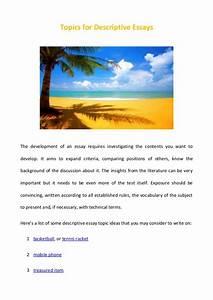 Topics For Descriptive Essays