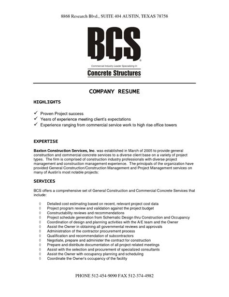 construction company resume template resume