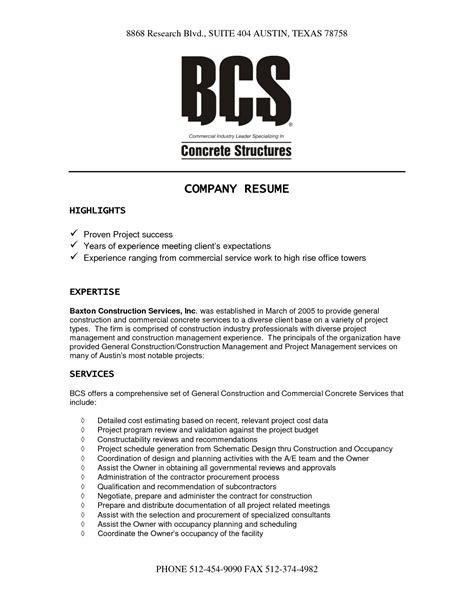 construction company resume template resume resume