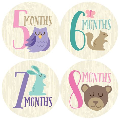 Woodland Girl Monthly Stickers (Months 1-12)