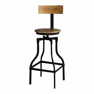 Tabouret De Bar Fer : tabouret de bar acacia massif fer noir achat vente tabouret cdiscount ~ Dallasstarsshop.com Idées de Décoration