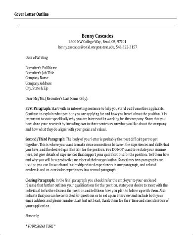Outline For A Cover Letter by Email Cover Letter Sle 9 Exles In Word Pdf
