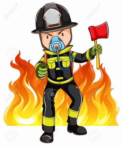 Brave Fireman Illustration Background Vector Clip Clipart